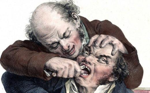 Dessin d'un pseudo-dentiste en train d'arracher la dent d'un homme avec une tenaille.