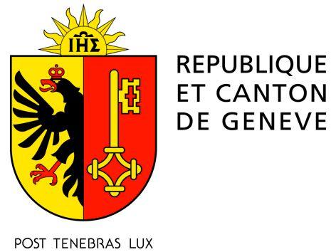 Logo de l'État de Genève avec l'aigle et la clef et avec l'inscription post tenebras lux.