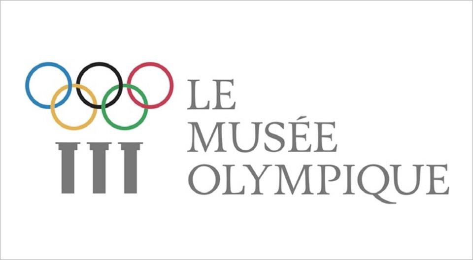 Logo du musée olympique de Lausanne avec les cinq anneaux olympiques, bleu, noir, rouge, jaune et vert.