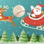 Dessin d'un père Noël sur son traineau tiré par un renne.