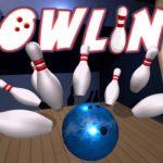 Dessin d'une boule de bowling bleue éclatant des quilles.