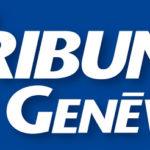 Logo de la Tribune de Genève. Le nom du journal est écrit en blanc sur fond bleu.