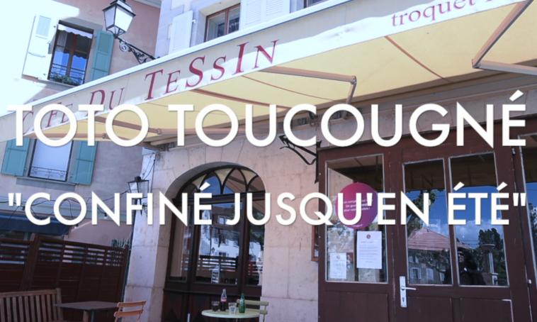 """Titre du clip """"Confiné jusqu'en été"""" de Toto Toucougné par Sarkis Ohanessian, parodie de """"Lasciatemi Cantare"""" de Toto Cutugno."""